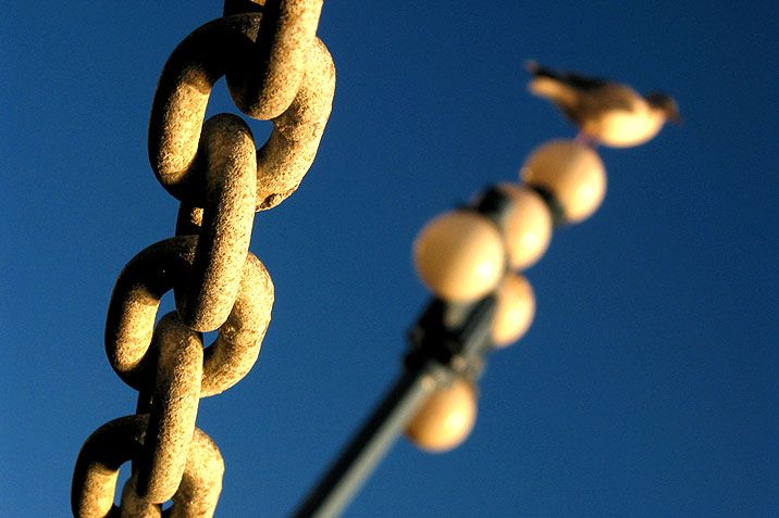 the chain shot during the blue hour